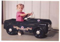 Beeby's Canadian Thistle Pedal Car with Granddaughter Casie, now a teenager