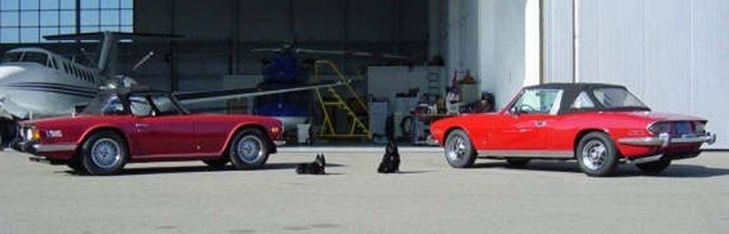Keith & Ellen Cooper '72 Triumph TR-6 on Left & '74 Triumph Stag 2+2 Convertible